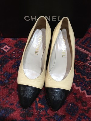 .CHANEL COCO MARC BICOLOR LEATHER HEEL PUPMS MADE IN ITALY/シャネルココマークバイカラーレザーヒールパンプス 2000000036601