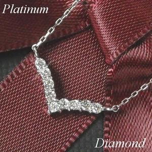 ネックレス ダイヤモンド v字 レディース プラチナ 計0.1ct ペンダント 4月誕生石