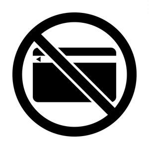 クレジットカードの使用不可マークのカッティングステッカー