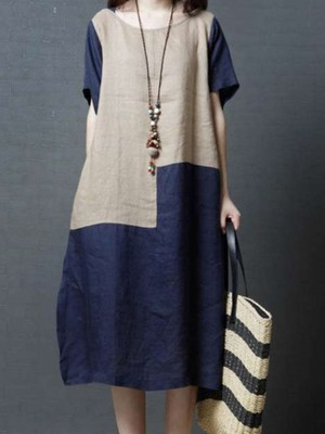 【dress】Round neck simple comfortable dress
