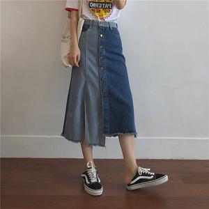 【ボトムス】ファッション簡約不規則ハイウエストスリットAラインデニムスカート