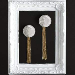 大きな鏡◯銀箔パールの GDタッセルピアスorイヤリング