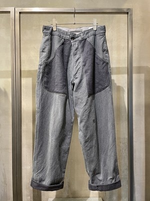 TrAnsference reversed parts baggy Swiss denim pants - cloud sky pigment dyed effect