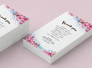 47円~/枚 サンキューカード 印刷代込 【桜】│結婚式 ウェディング