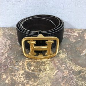 .HERMES 80 K0 H LOGO LEATHER BELT MADE IN FRANCE/エルメスHロゴレザーベルト 2000000033259