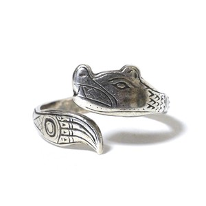 Vintage Northwest Coast Haida Sterling Silver Wolf Ring