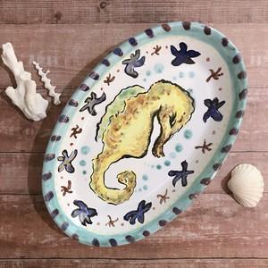 マヨリカ焼き オーバル皿(中) タツノオトシゴ エメラルドグリーン