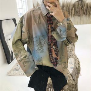 【トップス】長袖配色POLOネックシングルブレストシャツ19188766