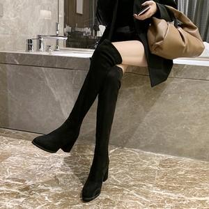 【シューズ】大好評ファッションチャンキーヒールジッパー暖かい丸トゥロング丈ブーツ35831592