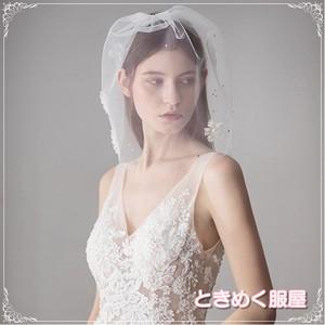 【取寄】ウエディングベール コーム ショート ラインストーン 造花 ヘッドドレス チュールネット ヘアアクセサリー