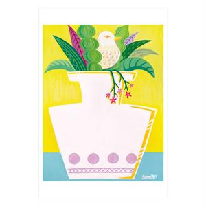 ポストカード「おしゃべりな花瓶 イエロー」