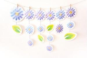 手作り用【ダウンロード版】ガーランド(A~Z)_3月_blue daisy