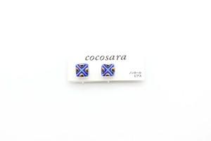 有田焼ノンホールピアス  square × Dot (金彩)青