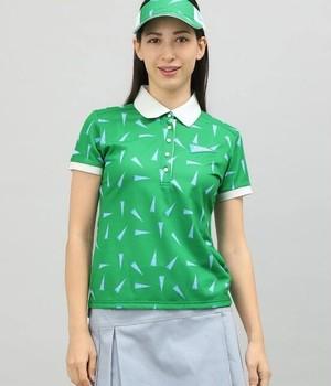 ペナント柄プリント半袖ポロシャツ