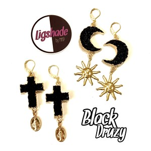 【No.1226】Black druzy✴︎Simple