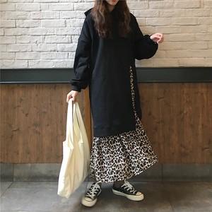 【ワンピース】ファッションヒョウ柄Aラインコットンロングワンピース