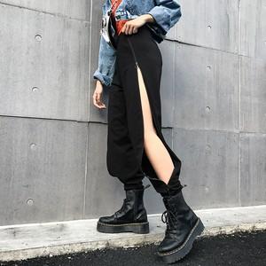06TA145 サイドジップオープンパンツ 2色 無地 ストリート系 フェス セクシー 原宿系 2019春夏 韓国ファッション オルチャン トレンド プチプラ かわいい おしゃれ