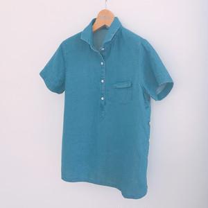 SALE50%OFF <レディス>ダンガリー素材のポロ風プルオーバー半袖シャツ