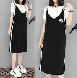 大きいサイズ レディース Tシャツ&サロペットワンピース 2点セット  スカート 半袖 春夏