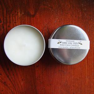蜜蝋100%ワックス缶キャンドル (7.5cm、蜜蝋ホワイト)