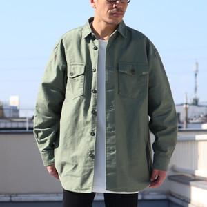 Gristone-W Back Satin Fatigue Box-A Line Shirts Army Green