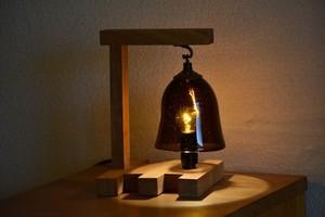 木とガラスのテーブルランプ【茶】