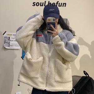 【アウター】韓国風カジュアル厚地切り替え可愛い配色綿コート23680052
