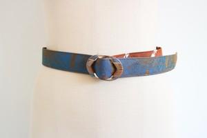 necktie remake belt ( brown turquoise  )