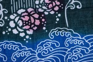 左海壺人 波と花 注染 ガーゼハンカチ (ST-018)