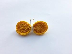 手編み*ちょうちょブローチ(黄)