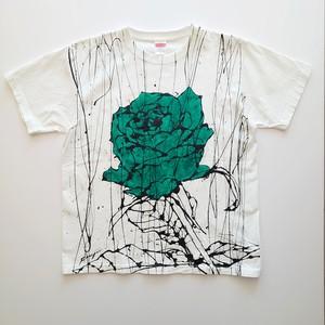 F's rose【 藤井清秀  Tシャツアート】グリーン薔薇 L