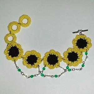 ビーズ飾り向日葵モチーフ繋ぎのブレスレット(オーダーメイド)