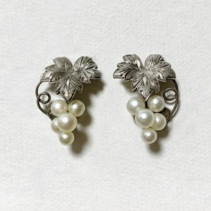 Vintage Sterling & Faux Pearl Grape Earrings