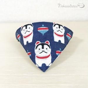 【犬張り子柄】猫用バンダナ風首輪/選べるアジャスター 猫首輪