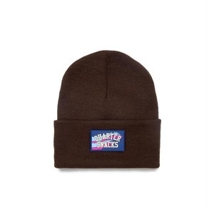 QUARTERSNACKS / RUBBER LABEL BEANIE -BROWN-
