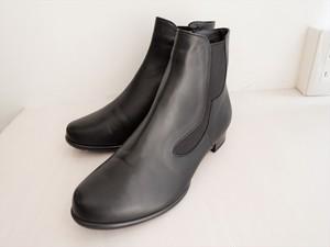 幅広ショートブーツ国産 ブラック H2.5cm