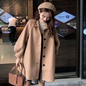 【アウター】秋冬折り襟シングルブレストブラックキャメル切り替え無地ロングコート