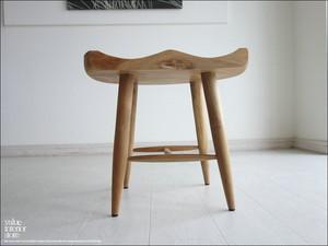 チーク総無垢 スツール曲 椅子 イス 木製 ベンチ チェア 手作り家具 素朴 和風 天然木 ハンドメイド ナチュラル 送料無料 『1台限り』