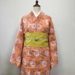 インド綿の二部式浴衣 おはしょり付き オレンジピンクに白い花
