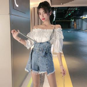 【セットアップ】【単品注文】韓国系ボートネックTシャツ+エイジング加工ハイウエストショートパンツ2点セットアップ27668124