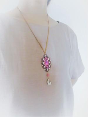 vintage necklace bijou pink <NC-RBpink>
