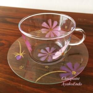 NEW【コスモス秋桜】ガラスのティーカップ&ソーサー/誕生日プレゼント(秋ハンドメイド2017)