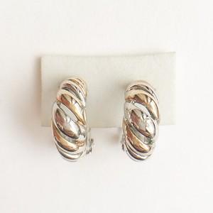 silver & gold hoop earring[e-740]