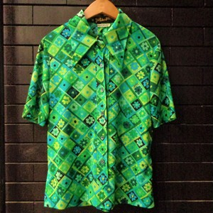 70's flower pattern short sleeve shirts 70年代レトロ花柄シャツ