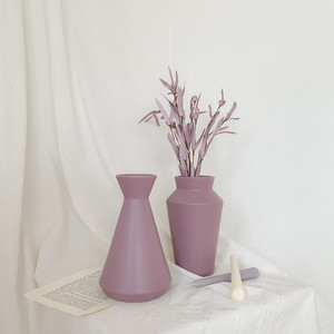 light purple ceramic vase 2types / マット セラミック 花瓶 オブジェ 韓国雑貨