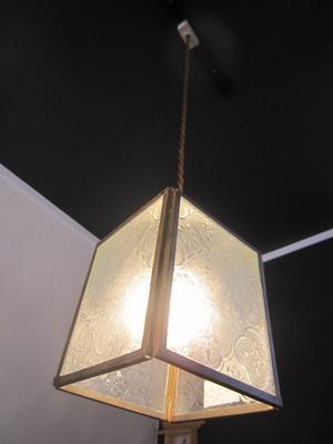 エンボスガラスハンギングシェードランプ【展示品】