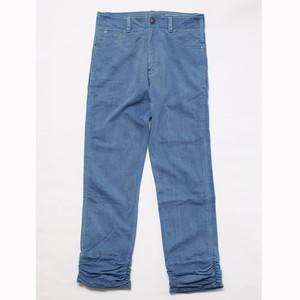 WORK-ER 裾ギャザーパンツ(ライトブルー/藍染)
