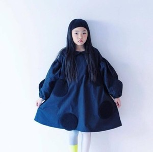 UNEVEN DOTS BOA WAVE SLEEVES DRESS / WOMEN
