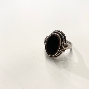 GERMANY antique silver ring -ONYX- (B)