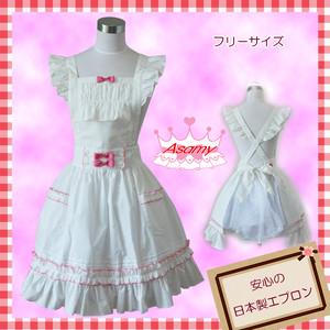 【フリーサイズ】プリンセスエプロン マーガレット白×ピンク